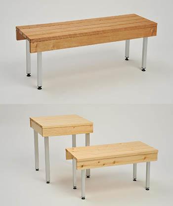 Pesu- ja pukuhuoneiden pöydät ja penkit